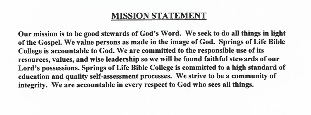 Springs of Life Bible College mission statement